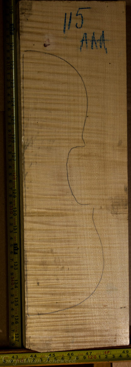 Violin No.115 Back and Sides made with Curly Maple in 2014 AAA grade