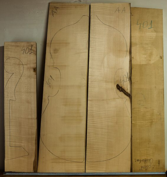 Double bass No.401 Back and Sides made with Curly maple in 2016 AAA grade