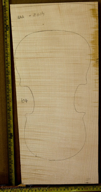 Viola No.104 One piece Back and Sides made with Curly Maple in 2014 AAA grade