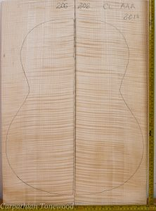 Guitar classical No.206 Back and Sides made with Curly maple in 2014 AAA grade