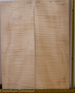 Guitar western No.206 Back and Sides made with Curly maple in 2014 AAA grade