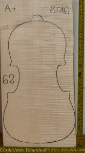 Violin No.62 One piece Back and Sides made with Curly Maple in 2016 A grade