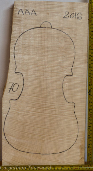 Violin No.70 One piece Back and Sides made with Curly Maple in 2016 AAA grade