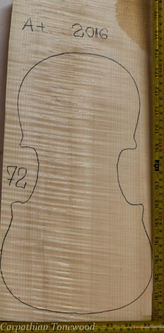Violin No.72 One piece Back and Sides made with Curly Maple in 2016 A grade