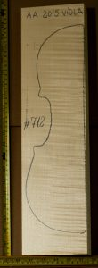 Viola No.712 Back and Sides made with Curly Maple in 2015 AA grade