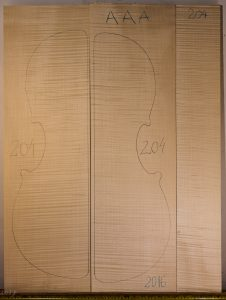 Cello No.204 Back and Sides made with Curly Maple in 2016 AAA grade