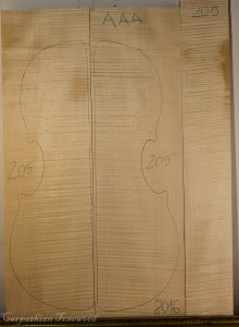 Cello No.205 Back and Sides made with Curly Maple in 2016 AAA grade