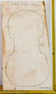 Viola No.52 One piece Back and Sides made with Bird eye maple in 2013 AAA grade