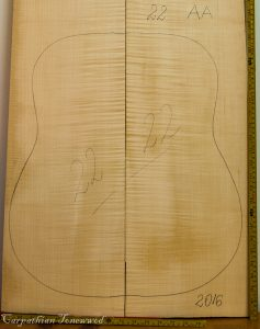 Guitar archtop No.22 Back and Sides made with Curly maple in 2016 AA grade
