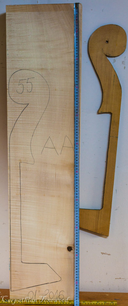 Double bass No.55 Neck made with Curly Maple in 2016 AA grade