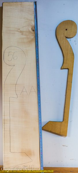 Double bass No.56 Neck made with Curly Maple in 2016 AA grade