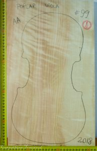 Viola No.99 One piece Back and Sides made with Poplar in 2018 AA grade