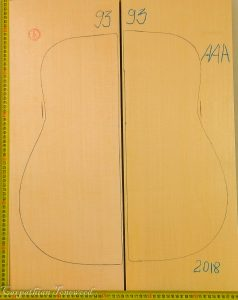 Guitar archtop No.93 Top made with Spruce in 2018 AAA grade