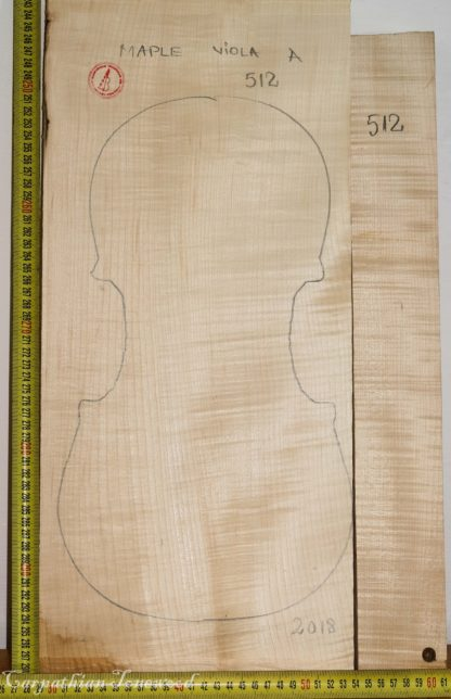 Viola No.512 One piece Back and Sides made with Curly Maple in 2018 A grade