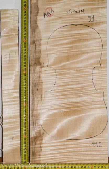 Violin No.51 One piece Back and Sides made with Curly Maple in 2018 AAA grade