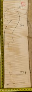 Cello No.62 Neck made with Curly Maple in 2018 AAA grade